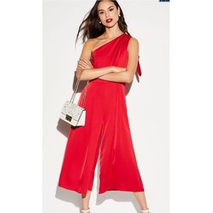 One shoulder red bow jumpsuit